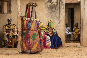"Benin - Village of Minifi, near Dassa. Voodoo ceremony of Egun masks. Egun masks represent the spirits of the deceased and according to the locals they ""are"" the deceased. The men wearing the masks representing Egun are initiates of the cult."